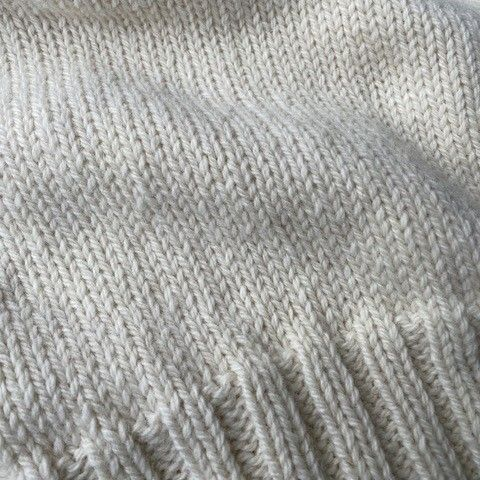 Dutch wool off-white detail of knit.