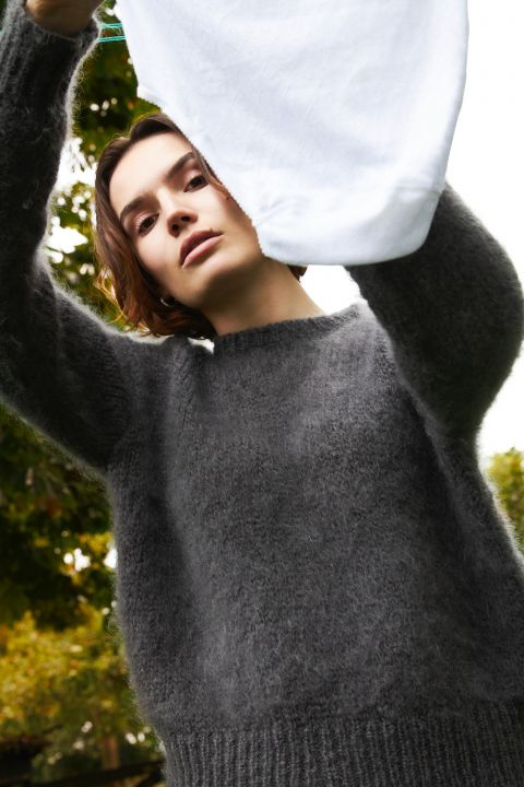 Daan mohair wool sweater from Dutch goats ambience image.
