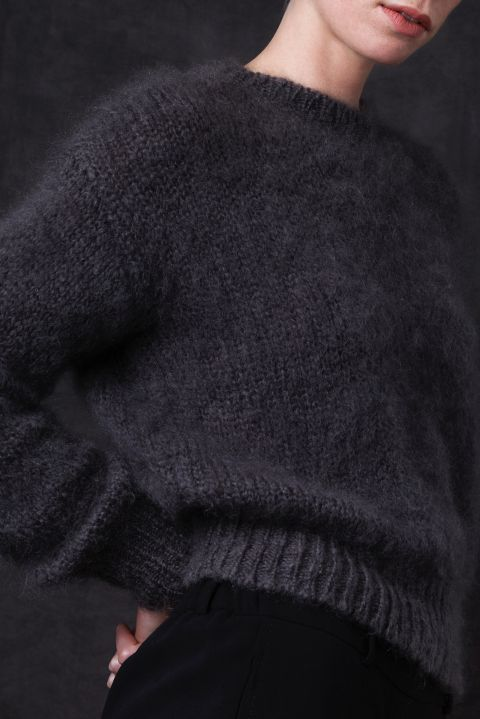 Daan mohair wool sweater from Dutch goats detail knit.