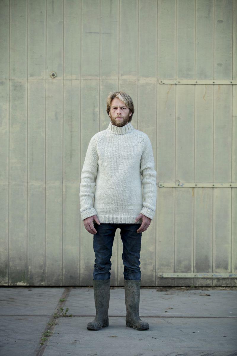 Dirko men's sweater wool mix and alpaca with male model.
