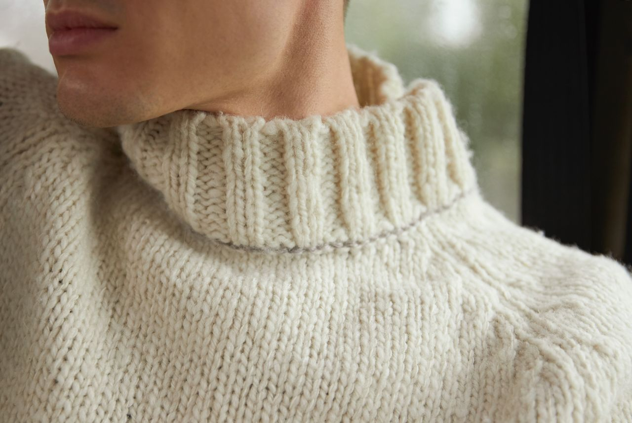 Dirko men's sweater natural wool mix and alpaca detail knit.