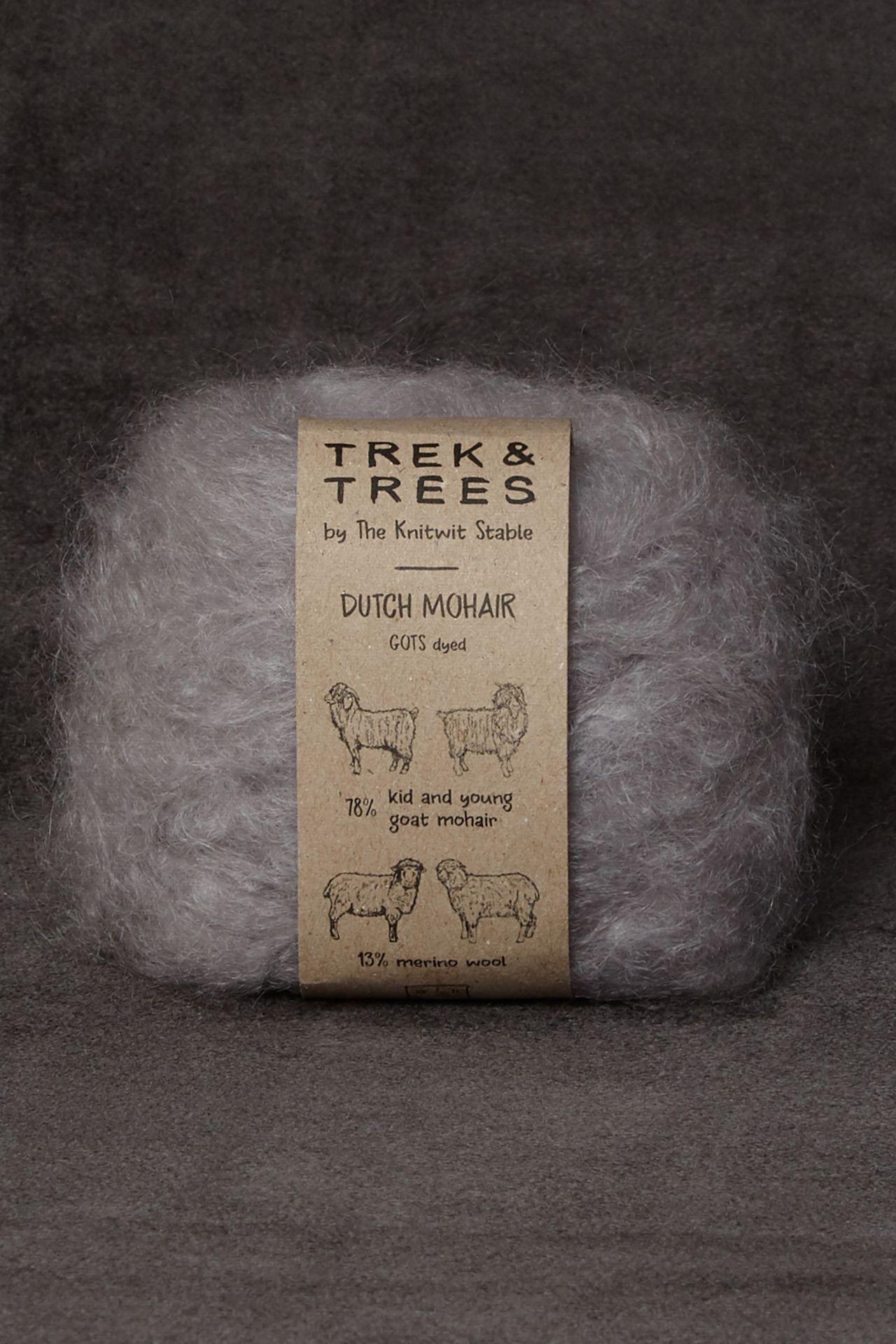 Mohair light gray yarn packshot.
