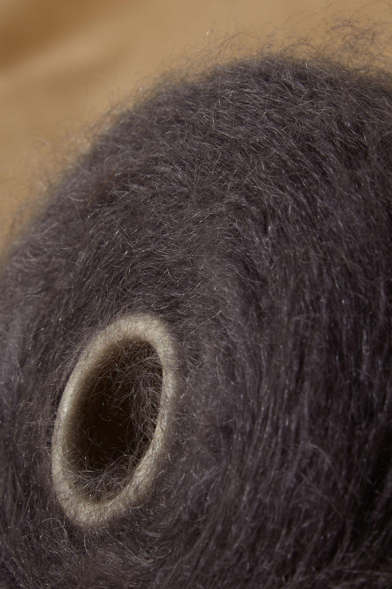 Mohair yarn detail dark grey.