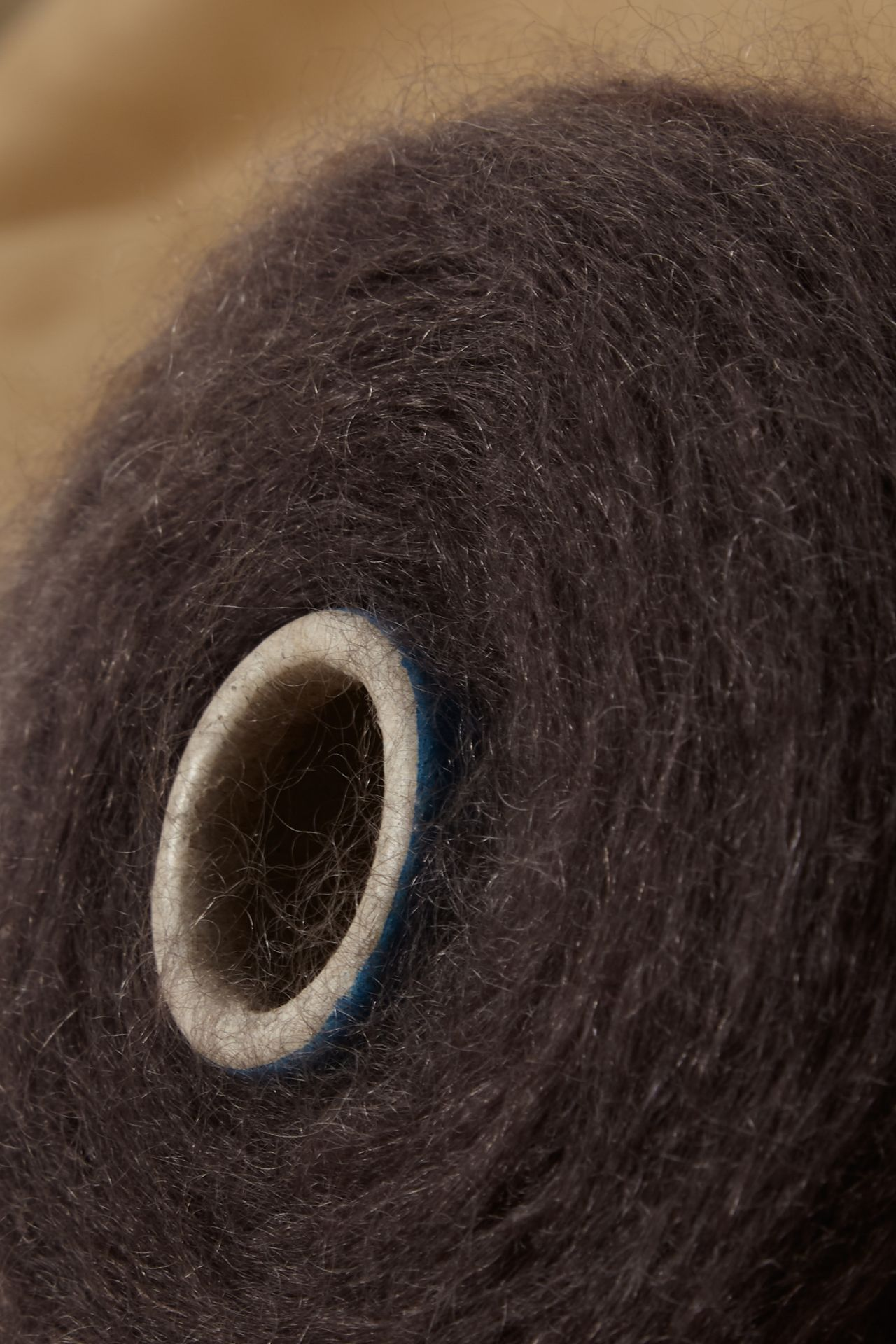 Mohair taupe yarn detail.