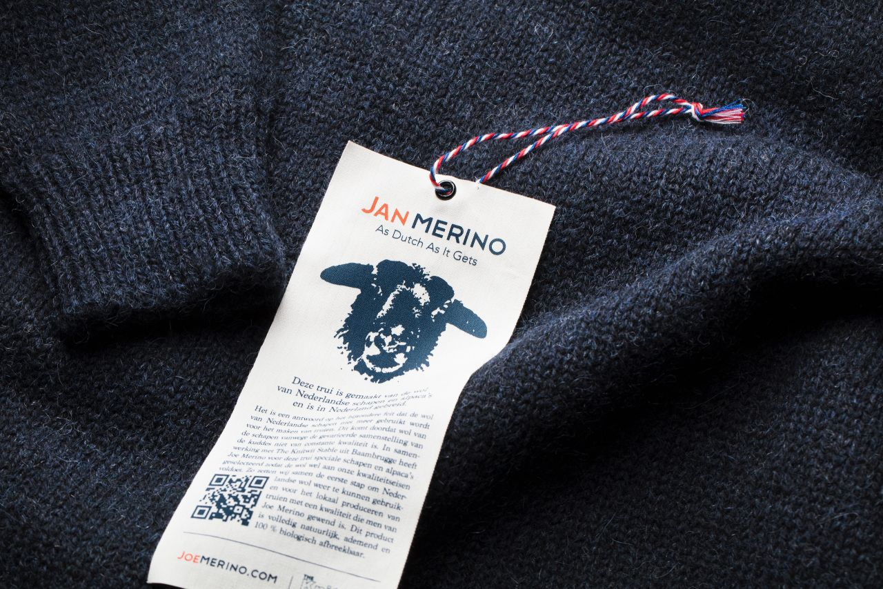 Joe Merino sweater label.