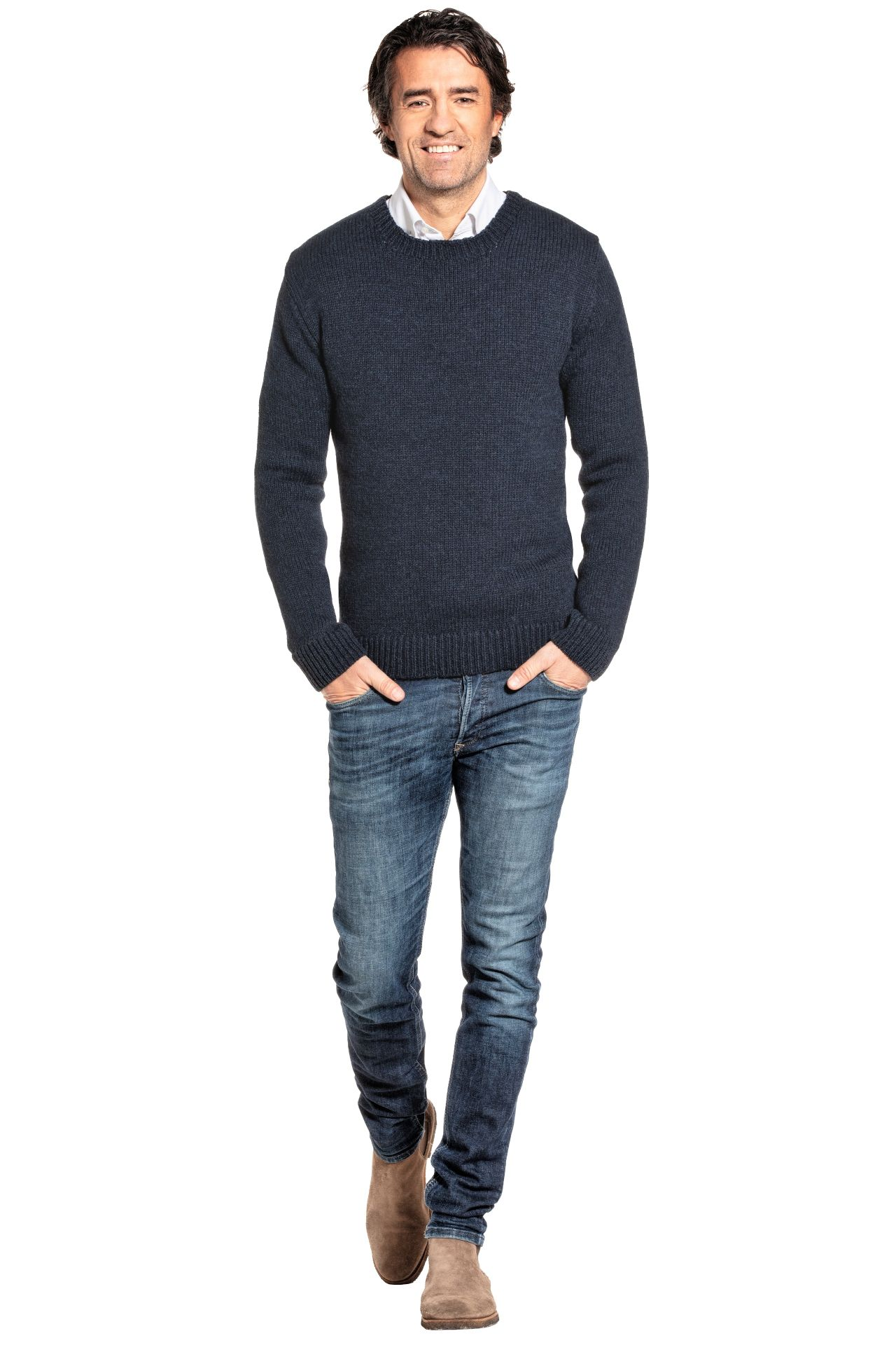 Joe Merino sweater worn by model.