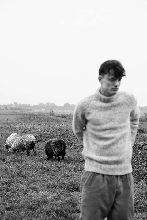 Jeroen unisex trui wolmix en alpaca met model op weiland.