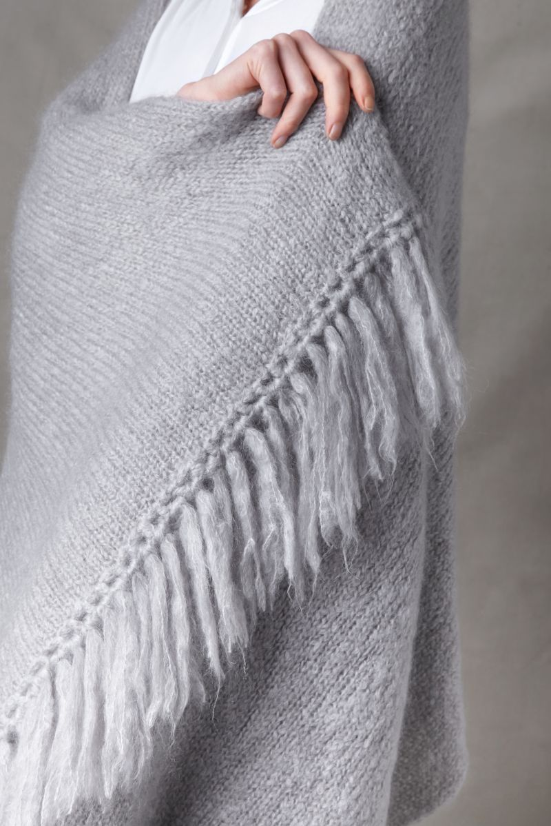 Juul mohair wool light gray shawl from Dutch goats detail fringe.
