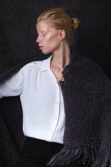 Juul mohair wool dark gray shawl from Dutch goats with model.