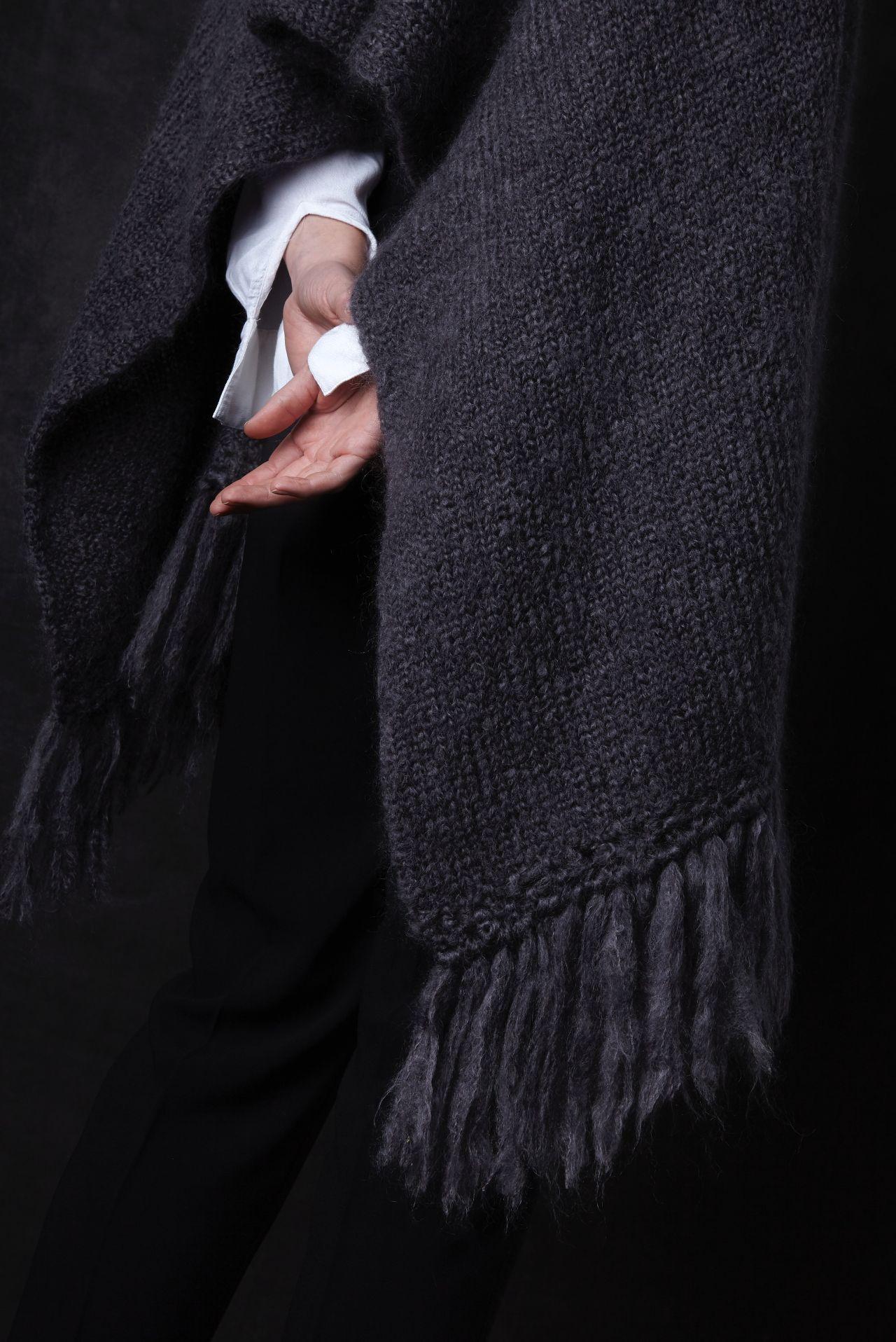 Juul mohair wool dark gray shawl from Dutch goats detail fringe.
