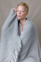 Juul mohair wool light blue shawl from Dutch goats with model.