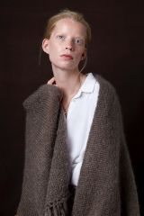 Juul mohair wool taupe shawl from Dutch goats with model.