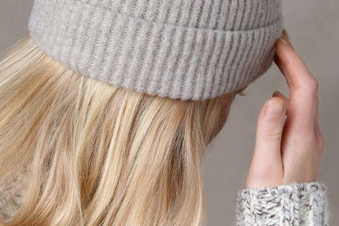Unisex mernio wool beanie detail knit.