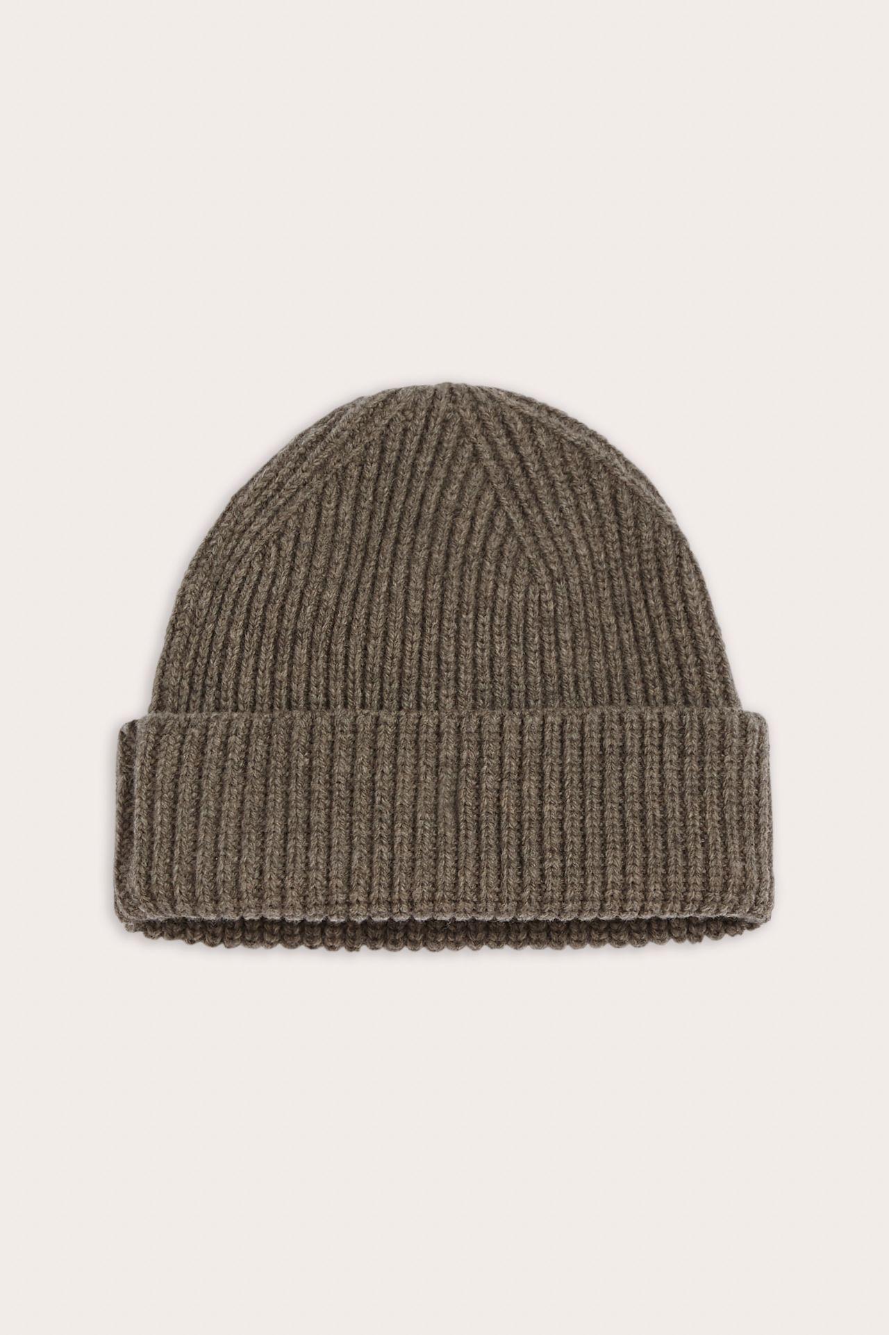 Lars Unisex mernio wool beanie taupe packshot.