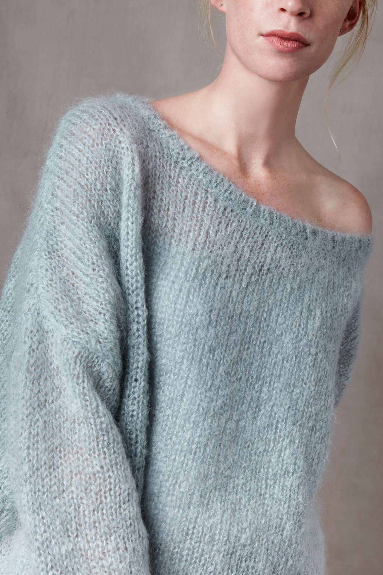 Nena mohairwol los vallende trui van Nederlandse geiten detail breisel.