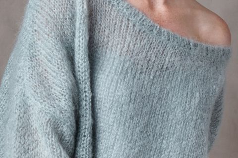 Nena mohair wool loose sweater from Dutch goats detail knit.